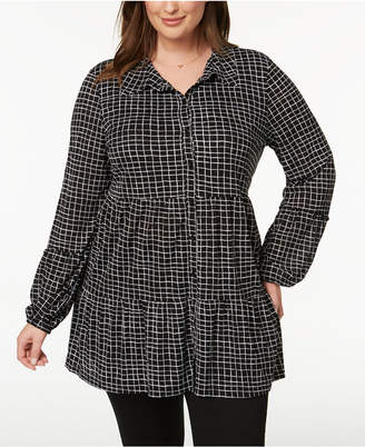 Style&Co. Style & Co Plus Size Printed Tiered Mesh Top