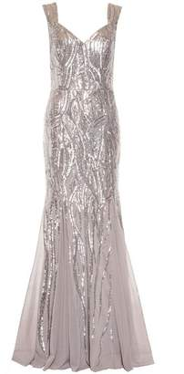 Quiz Silver Sequin Sweetheart Fishtail Maxi Dress