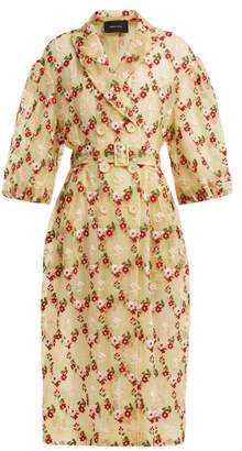 Simone Rocha Floral Embroidered Single Breasted Tulle Coat - Womens - Yellow Multi