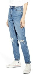 Topshop High Waist Ripped Knee Jeans