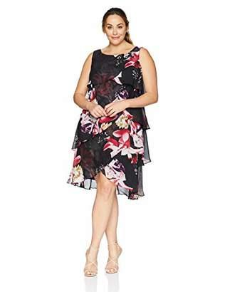 SL Fashions Women's Plus Size Sleeveless Printed Tier Dress