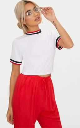 PrettyLittleThing White Sport Trim Crop T Shirt