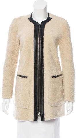 Chloé  Chloé Leather-Trimmed Shearling Coat