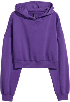 H&M Short Hooded Sweatshirt - Purple