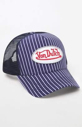 Von Dutch 272 Striped Snapback Trucker Hat