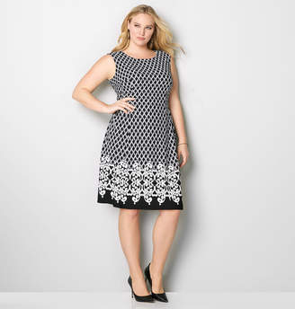 Avenue Criss-Cross Scroll Border Fit and Flare Dress