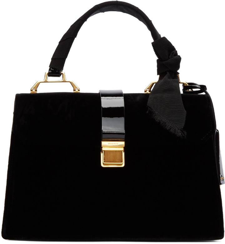 Miu MiuMiu Miu Black Velvet Duffle Bag