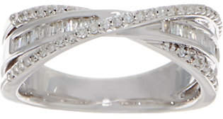 Affinity Diamond Jewelry Baguette & Round Crossover Band Ring, 3/10 cttwSterling, Affin