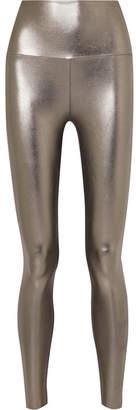 Norma Kamali Striped Metallic Stretch Leggings - Silver