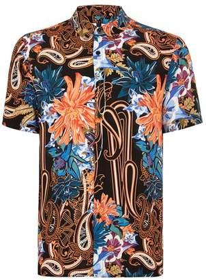 Topman Mens Black Floral Paisley Short Sleeve Shirt