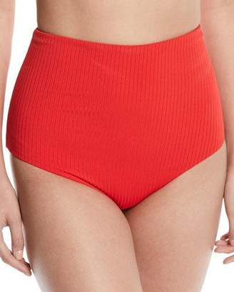 Mara Hoffman Lydia High-Waist Solid Ribbed Swim Bikini Bottom