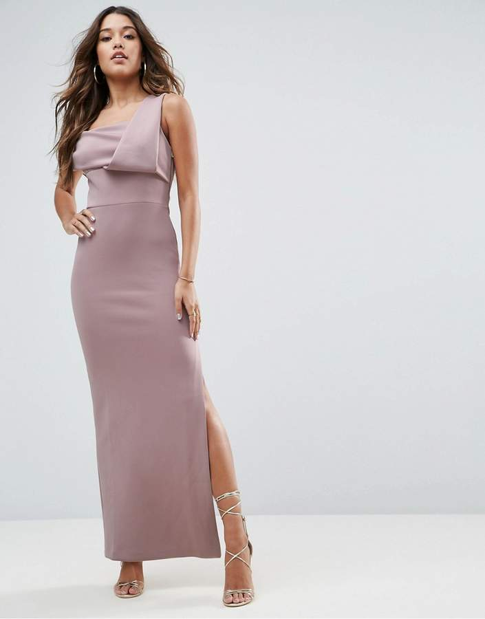 Asos Scuba One Shoulder Fold Maxi Dress With Exposed Zip