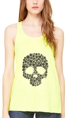 Clementine Apparel Women's Floral Skull Graphic Flowy Racerback Tank Top