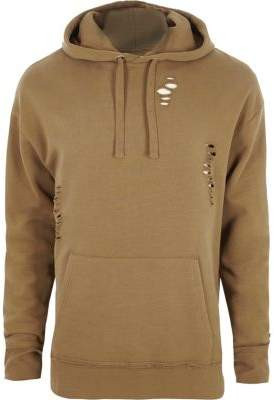 River Island Tan ripped oversized hoodie