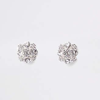 River Island White rhinestone clip on earrings