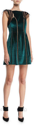 Self-Portrait Frill-Shoulder Fit-and-Flare Velvet Mini Dress