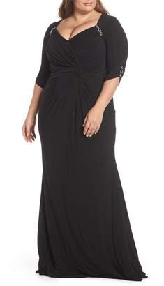 Mac Duggal Crystal Embellished Twist Front Evening Dress