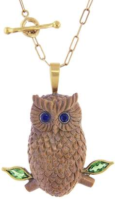 Cathy Waterman Diopside and Blue Sapphire Wood Owl Charm