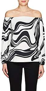 Lisa Perry WOMEN'S SWIRL CREPE OFF-THE-SHOULDER TOP - BLACK/WHITE SIZE 2