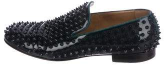 Christian Louboutin Patent Leather Spike Smoking Slippers