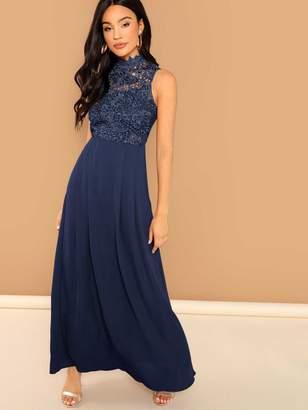 f1dda2b1ec1 Shein Guipure Lace Top Flowy Maxi Prom Dress