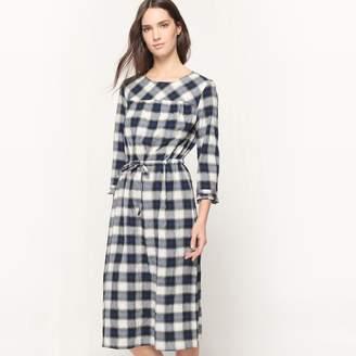 La Redoute Collections Checked Tie Waist Midi Dress