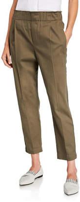 Brunello Cucinelli Monili-Striped Cotton Twill Pull on Pants