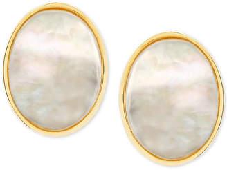 Macy's Mother-of-Pearl Oval Stud Earrings in 14k Gold