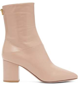 Valentino Ringstud Point Toe Leather Ankle Boots - Womens - Nude