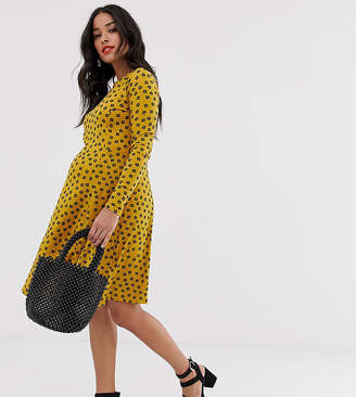 New Look Maternity long sleeve swing dress in yellow