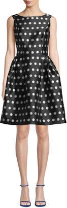 Carolina Herrera Polka Dot Bateau-Neck Fit-&-Flare Dress
