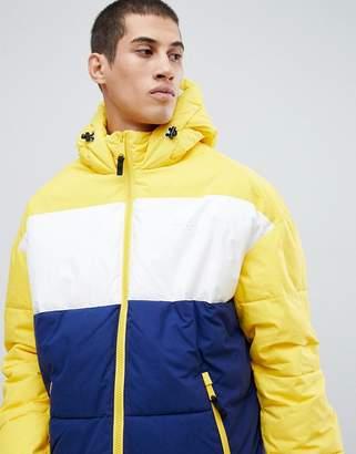 Schott alaska hooded puffer jacket color block regular fit in yellow/blue