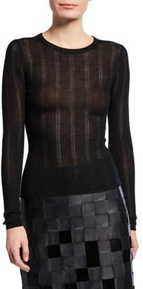 Gabriela Hearst Cashmere-Silk Pointelle Knit Sweater