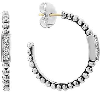 Lagos Sterling Silver Caviar Spark Diamond Hoop Earrings
