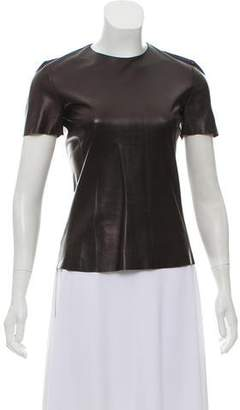 Celine Leather Short Sleeve Top