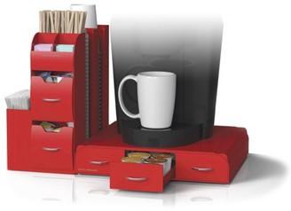Mind Reader 'Combine' 2-Piece K-Cup Single Serve Coffee Pod Drawer and Condiment Storage Organizer Station, Red