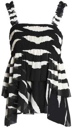 Tory Burch Tiered Shirred Zebra-Print Crepon Top