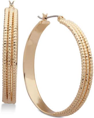 Nine West Triple Layer Textured Hoop Earrings