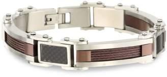 Cold Steel Stainless Steel Immersion Plate and Carbon Fiber Men's Bracelet