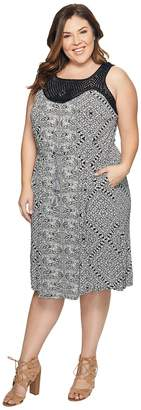 Lucky Brand Plus Size Knit Macrame Dress Women's Dress