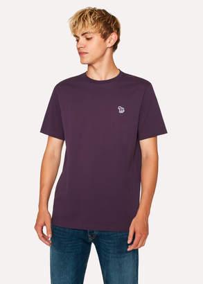 Paul Smith Men's Dark Violet Organic-Cotton Zebra Logo T-Shirt