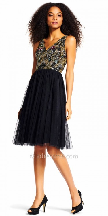 Adrianna PapellAdrianna Papell Tulle Scroll Beaded Fit and Flare Cocktail Dress
