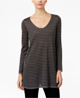 Eileen Fisher Striped Scoop-Neck Tunic $218 thestylecure.com