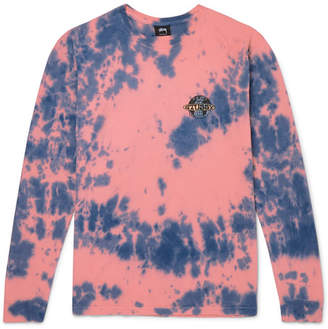 Stussy Logo-Print Tie-Dyed Cotton-Jersey T-Shirt