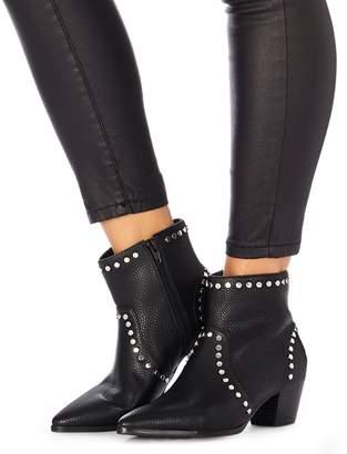 Faith Black Studded 'Bud' Mid Block Heel Ankle Boots