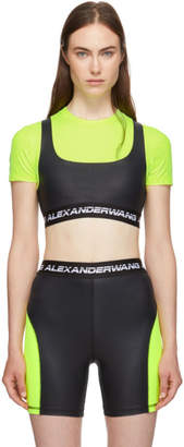 Alexander Wang Black and Yellow Logo Elastic Wash and Go T-Shirt