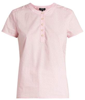 A.P.C. Philippine Short Sleeved Cotton Blouse - Womens - Light Pink