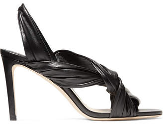 Jimmy Choo Leila 85 Knotted Leather Slingback Sandals - Black