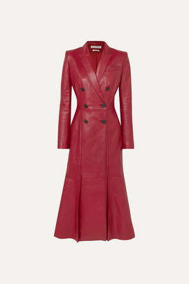 Alexander McQueen Double-breasted Pleated Leather Coat - Red