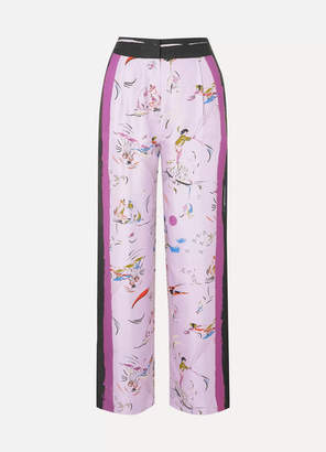 Tory Burch Painted Border Printed Silk-twill Pants - Lilac